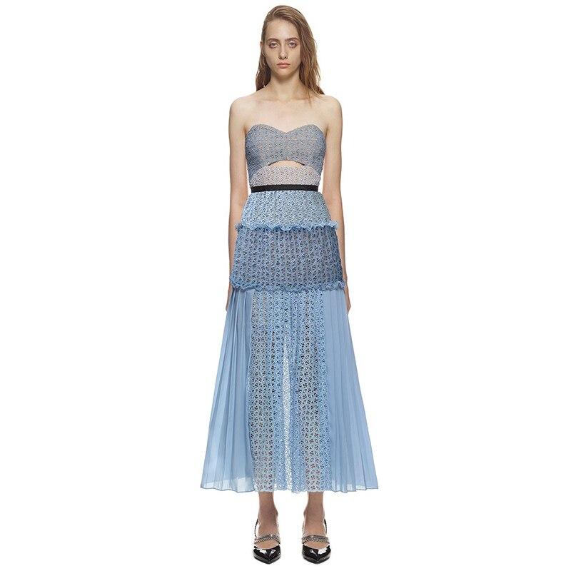 Seifrmann женские синие органзы с цветочным принтом ришелье бандо платье высокого качества без рукавов Лоскутная выдалбливают платье миди
