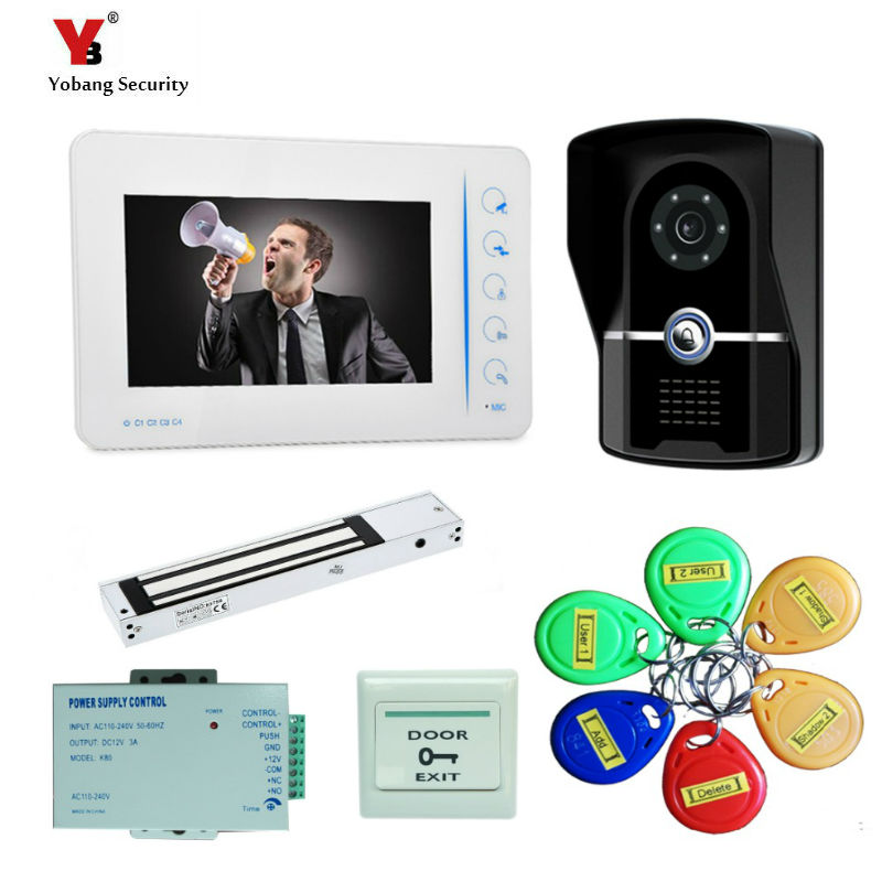 Yobang Security 7 Screen Recording Video Intercom camera Doorbell Phone System+Outdoor RFID Access Door Camera+Electric Lock