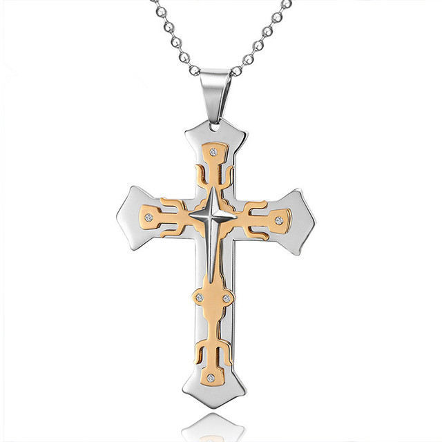 Necklace korean style personality fashion multi layer titanium cross necklace korean style personality fashion multi layer titanium cross pendant stainless steel necklaces pendants aloadofball Images