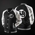 Новый Японский Аниме Dragon Ball Гоку Varsity Куртки 2016 Осенняя Мода Черный Белый Рукав Руно Бейсбол Куртка Толстовка Пальто