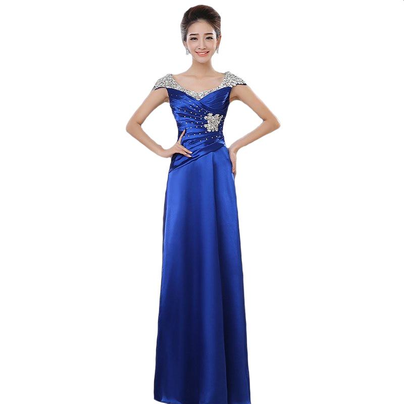 2018 New Fashion Elegant Plus Size Long Evening Dresses Cap Sleeve Beading Party Dresses Custom Made Floor-Length 012