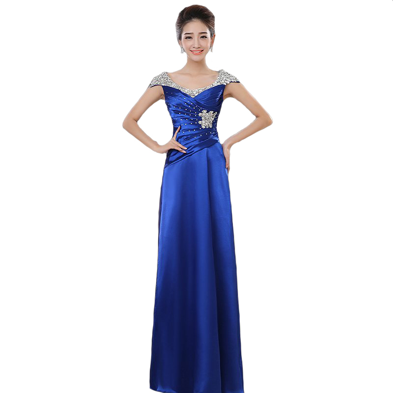 2018 New Fashion Elegant Plus Size long   Evening     Dresses   Cap Sleeve Beading Party   Dresses   Custom Made Floor-Length 012