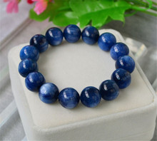 15mm Big Genuine Natural Blue Kyanite Cat Eye Gem Stone Crystal Round Beads Bracelet Power Stretch Bracelet For Women And Men