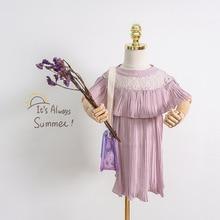Summer Hot Sale Girls Dress Fashion Nice Children White Pink Soft Lace Elegant Princess for