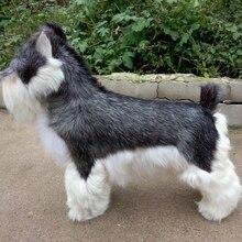 Новая имитация Шнауцер игрушка смола и мех серая собака модель подарок 47x42 см 1023