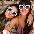 Новые Европа/Америка Тенденции Моды Cateye Женщины Мужчины Солнцезащитные Очки Бренд Дизайнер Прохладно Личности Высокого Качества Очки UV400