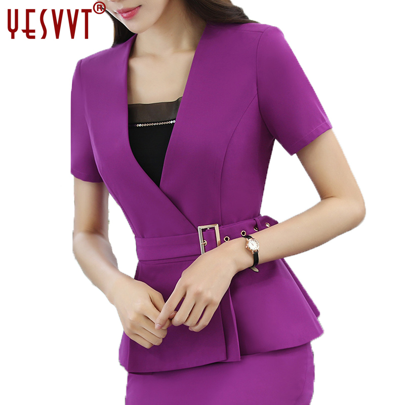 yesvvt Women Blazer Set Two pieces Suits Summer Ladies Formal Skirt Suit Office Uniform Style Female Business Suit For Work Wear
