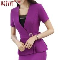 yesvvt Women Blazer Set Two pieces Suits Summer Ladies Formal Skirt Suit Office Uniform Style Female Business Suit For Work Wear