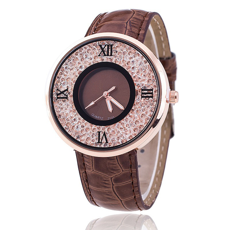 Vansvar Brand Fashion Women Rhinestone Watches Luxury Leather Women Dress Watch Casual Quartz Watches Relogio Feminino 613 4