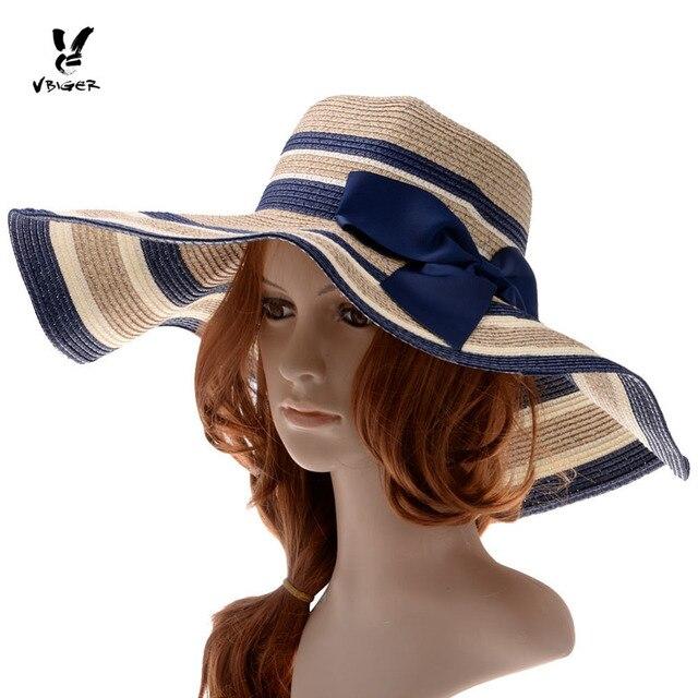 e1def6a9363 VBIGER Women Sunproof Sun Hat Ladies Foldable Summer Large-Brim Straw Hat  Cap Outdoor Party Beach Sunbonnet Hat with Bowknot