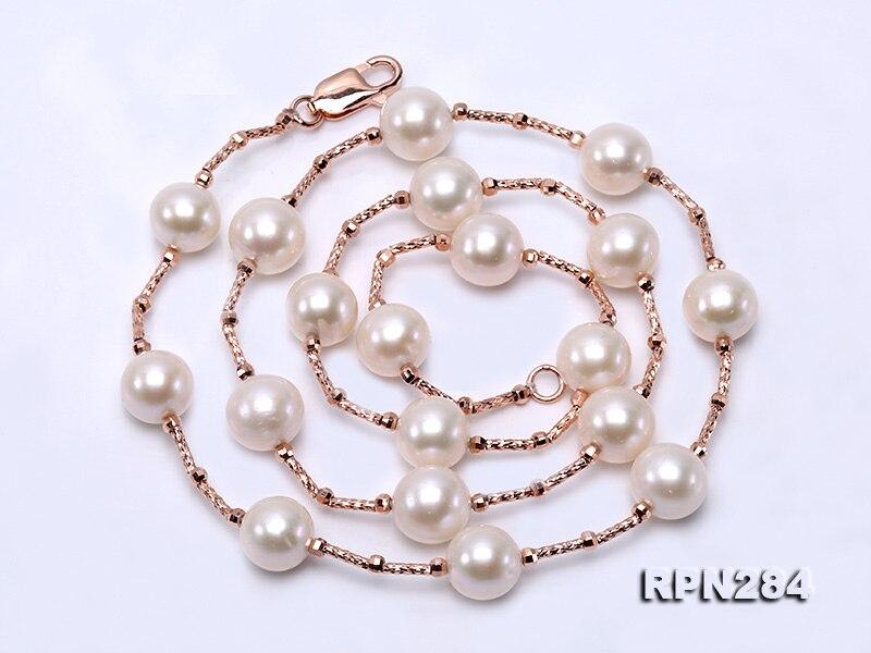 Unique Perles bijouterie Or Couleur Tube 9-10mm Blanc D'eau Douce Perle Collier 50 cm Parfait Femmes De Mariage cadeau d'anniversaire