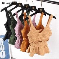 Qlingopt Tops Crop Top Polyester Deep V Neck Sexy Femme Women Crop Top Elegant Solid Ruffle