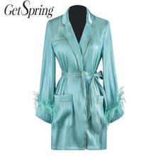 Chaqueta GetSpring de manga larga con cordones para mujer, chaquetas con plumas y bolsillos grandes, abrigo largo de retales, chaqueta abrigada para mujer
