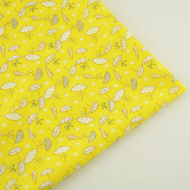Темно-Желтый Хлопок Ткань для Тильда Куклы Просто Ткань Лоскутное Домашний Текстиль Реактивная Крашения Прекрасный Белый Зонтик Жир Квартал СМ