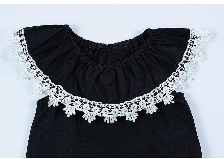 CN zomer baby meisje bodysuits katoen kant zwart mouwloos Jumpsuit - Babykleding - Foto 5
