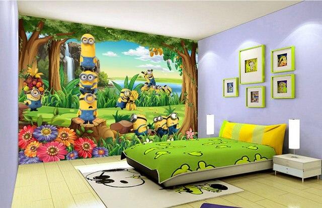 Funny Minions Wallpaper 3D Custom Photo Cartoon Wall Mural Forest Kid Bedroom Nursery Childrens Hospital Room Decor