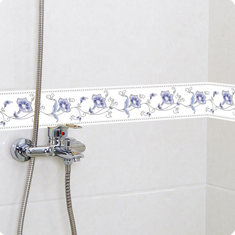 DIY Self-Adhesive Wallpaper Border Waterproof 5M Bathroom 3D Flower Pattern PVC Wall Stickers Waistline Kitchen Room Wall Decor