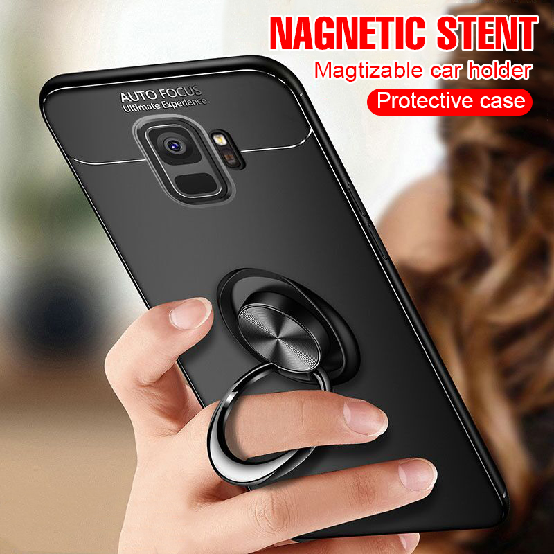 premium selection 97c24 12a63 US $2.55 5% OFF|Luxury Car Holder Ring Case On The For Samsung Galaxy S7  Edge S8 S9 Plus Note 8 9 Phone Case S8 S9 Note 9 Soft Shockproof Case-in ...