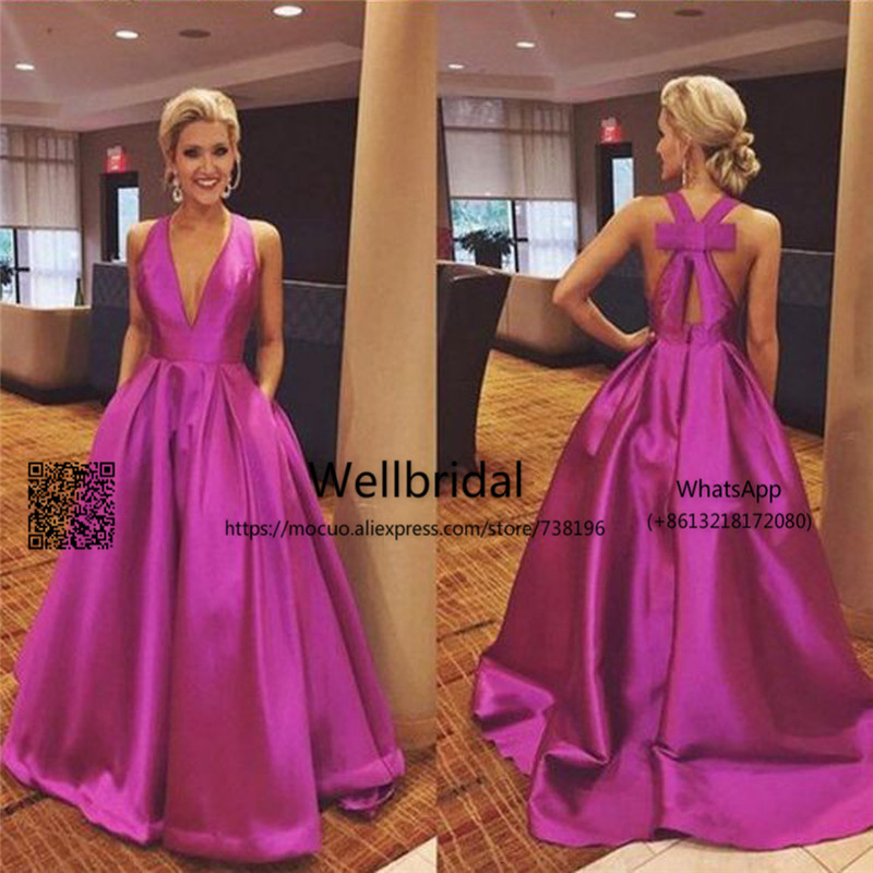 2017 Simple New   Prom     Dresses   Long with Bow Deep V-Neck Tank A-Line Draped Satin   Prom   Evening   Dress