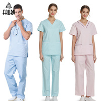 Summer V Neck Short Sleeve Pet Hospital Medical Seugical Scrub Set Tops Pants Doctor Nurse Beauty Salon Work Uniforms Overalls