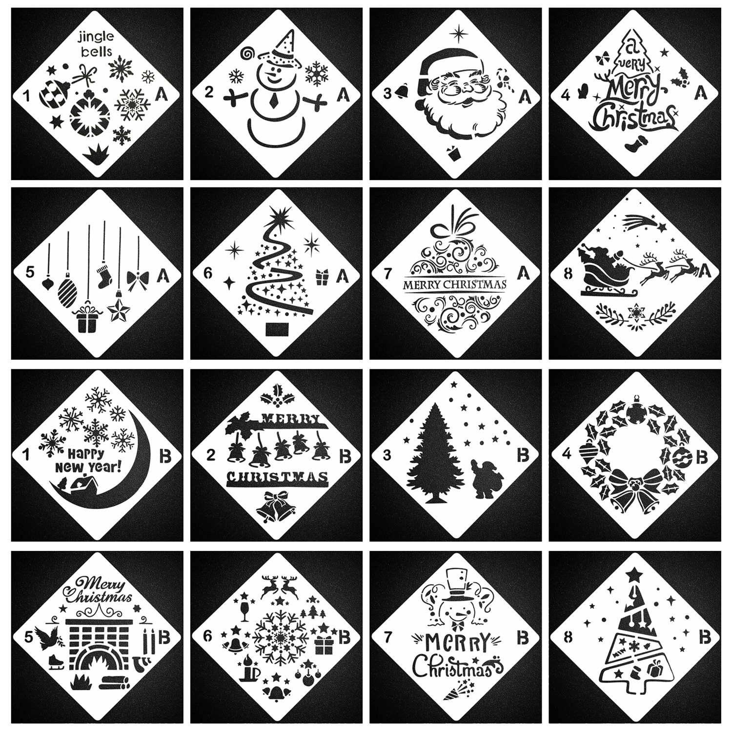 16 Cartoon Christmas Pattern DIY Hollow Layering Painting Stencils Drawing Templates Toy Scrapbooking Embossing Paper Card Decor