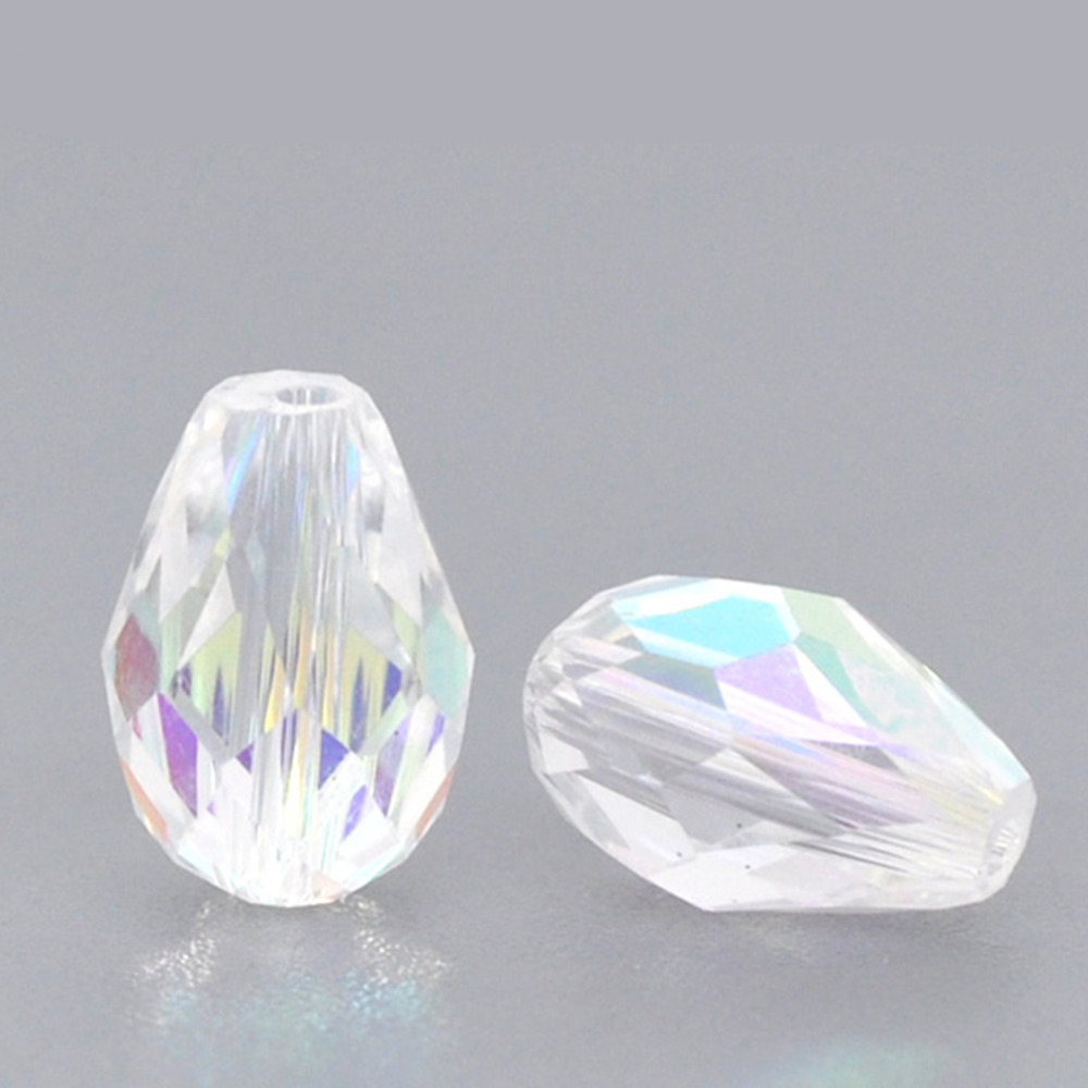2019 Latest Design Doreenbeads Glass Loose Beads Teardrop Transparent Ab Color Ab Color Faceted About 11mmx8mm,hole: Approx 1mm,7 Pieces