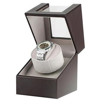 Caja de reloj automático AU/EU/US/UK caja de reloj marrón soporte de reloj organizador de pantalla de lujo agitador de Motor caja reloj automatico