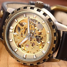 цена на Steampunk Mechanical Watches Men Bronze GEAR Case Automatic Watch Luxury Vintage Golden Skeleton Wristwatches Relogio Mascualino