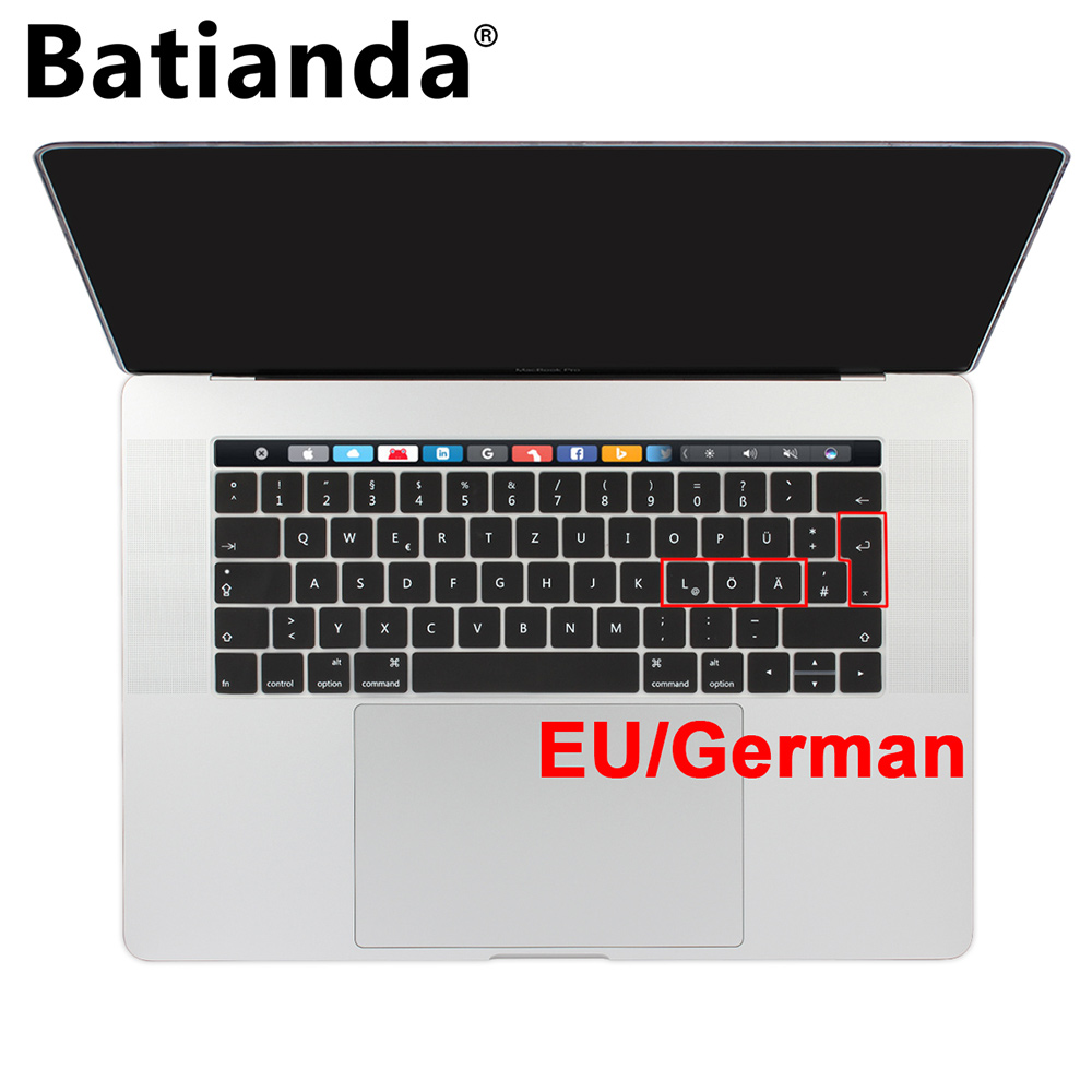 2020 Russian English Keyboard Cover for MacBook Pro Air 13 15 Soft TPU Waterproof Keyboard Stickers for MacBook EU US 13 15-Black