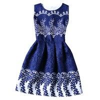 High Quality 6 20Yrs Girls Print Cotton DressesChildren Summer Sleeveless Lace Flowers Casual Party Clothes Girls
