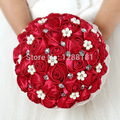 Handmade Top Quality Beaded Brooch Silk Bride Bridal Wedding Bouquet Bridesmaid Europe Us Red Rose Artificial Flower Sp8544