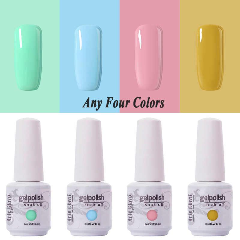 Arte Clavo tırnak cilalama seti manikür için 8ml renk Gellak yarı kalıcı Glitter çivi sanat UV hibrid tırnak jeli vernik en taban