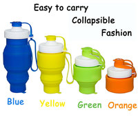2018 New 530ml Outdoor Sports Water Bottle Collapsible Retractable Kettle Portable Silicone Cycling Sports Drink Bottle