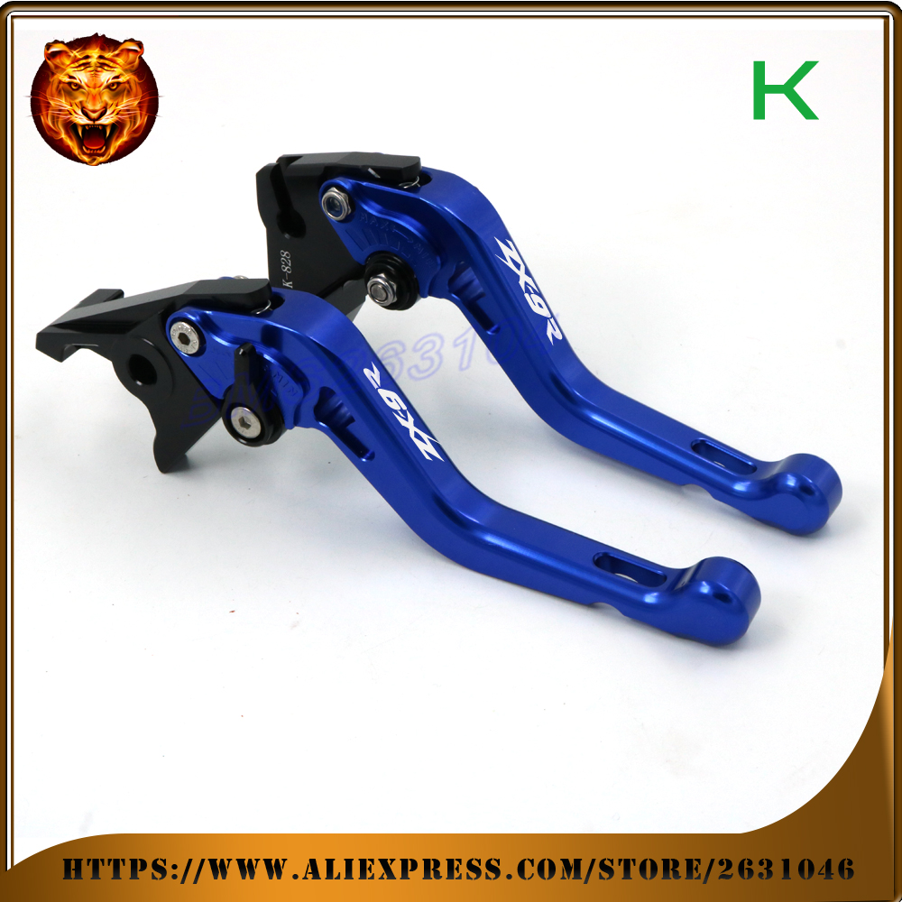 Adjustable Short Brake Clutch Levers For kawasaki ZX9R ZX-9R 1998 1999 CNC LOGO FREE SHIPPING BLUE GREEN Motorcycle Accessories стоппроблем карандаш салициловый маскирующий тон 2 4 7г