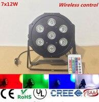 4pcs Wireless Remote Control LED The Brightest 8 Dmx Channels Led Flat Par 7x12W RGBW 4IN1
