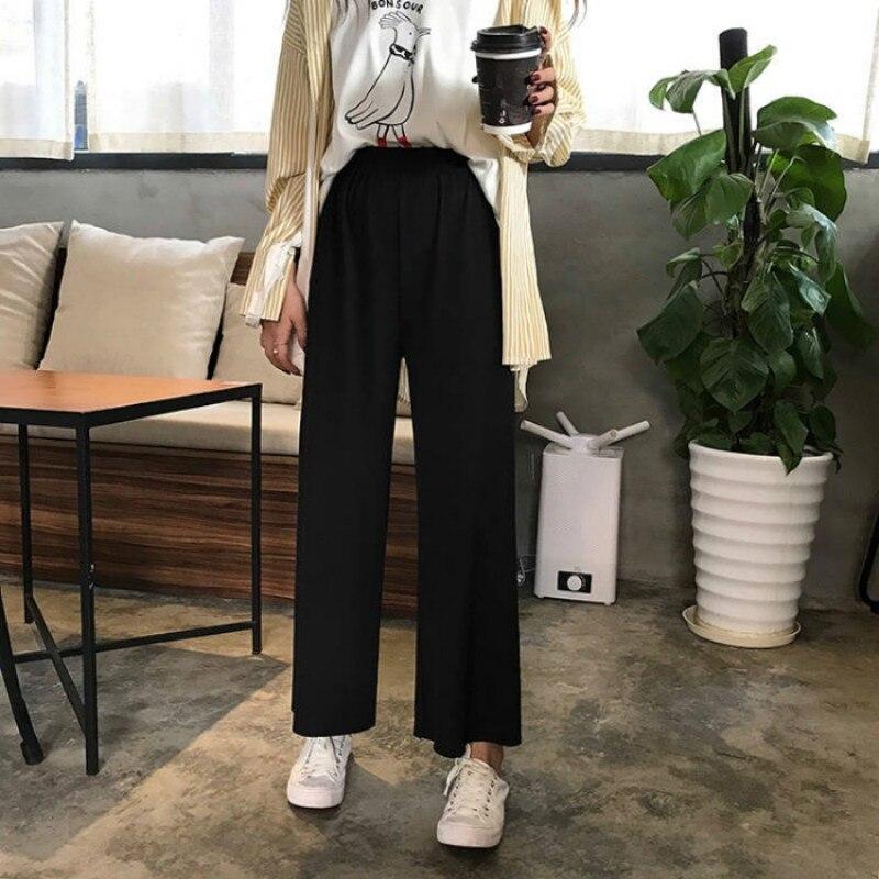 Coreano feminino solto preto perna larga calças de cintura alta solta calças casuais pantalones mujer cintura alta 2019 harajuku