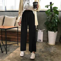 Mulheres coreanas Solta Preto Largas Calças Perna de Cintura Alta Soltas Calças Pantalones Mujer Casuais Cintura Alta 2019 Harajuku