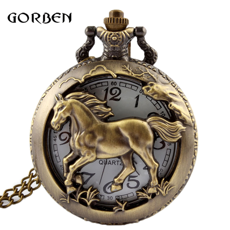 Antique Bronze Orologio Taschino Horse Hollow Quartz Pocket Watch Necklace Chain Pendant Womens Men Watches Gifts
