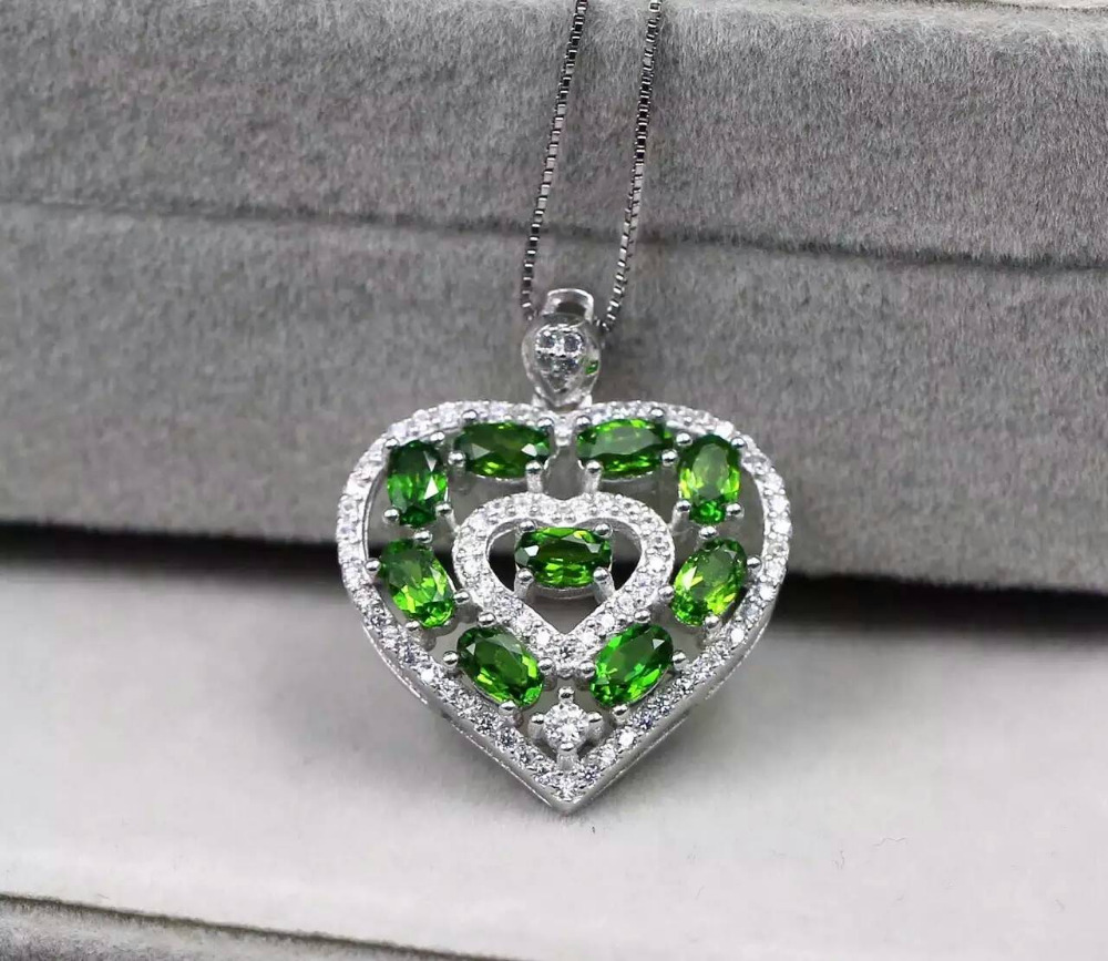 natural diopside pendant S925 silver Natural gemstone Pendant Necklace trendy romantic peach heart women Child party jewelry цена и фото