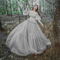 2018 New Spring Summer Vintage Fashion Women Light Gray Off Shoulder Bohemian Maxi Dress Ball Gown Vintage Fairy Long Dress