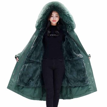 2019 Large size Winter Parkas Women Thicken Flocking Liner Long Outerwear Female Fur collar Hooded Cotton Jackets Loose Coats