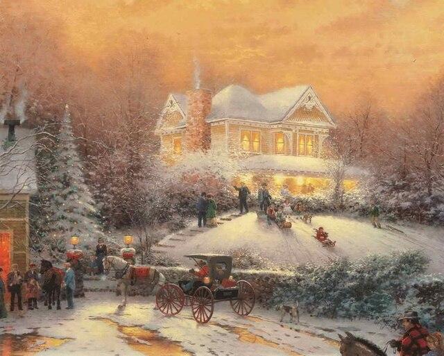 Immagini Natale Vittoriano.Natale Vittoriano Ii Thomas Kinkade Hd Stampa Su Tela Soggiorno