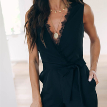 Women Sleeveless Jumpsuits Lace Solid Bodycon Club Casual Party V Neck Jumpsuit Sashes Black Summer Playsuit Deep V-neck Hot yellow folk v neck convertible playsuit