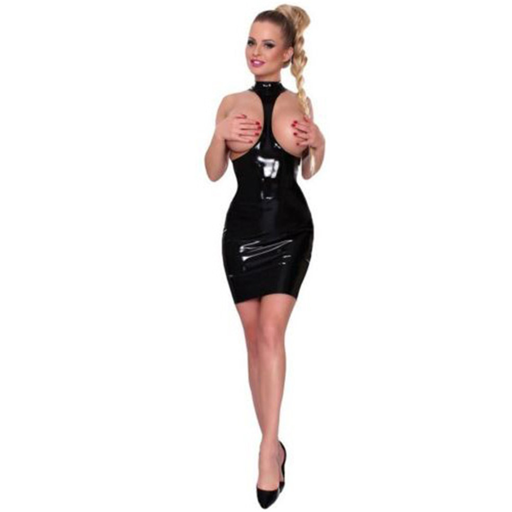 new Patent leather light Sling neck Hollow out Dew Buttocks Miniskirt sexy lingerie latex <font><b>dress</b></font> <font><b>pvc</b></font> <font><b>dress</b></font> clubwear leather <font><b>dress</b></font> image