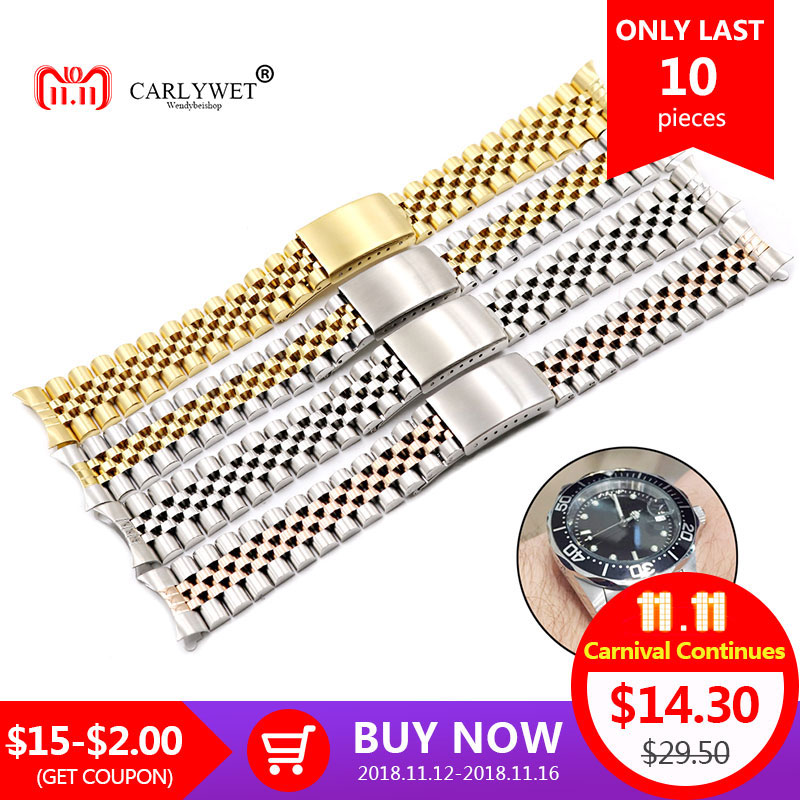 все цены на CARLYWET 19 20 22mm Two Tone Hollow Curved End Solid Screw Links Replacement Watch Band Strap Old Style Jubilee Bracelet