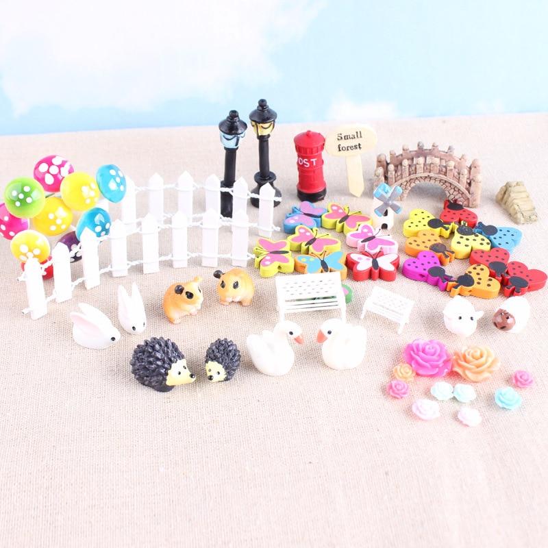 58 pcs Fairy Garden Accessories Dollhouse Miniature Ornament Kit DIY Kit Décor