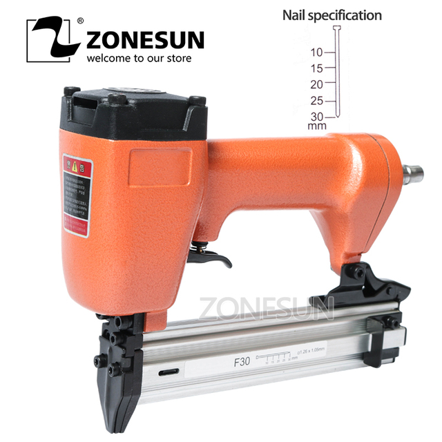ZONESUN F30 Carpenter Pneumatic Nail Gun Woodworking Air straight Nails Home DIY Carpentry Decoration