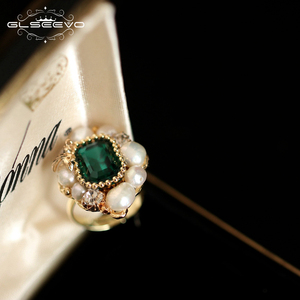 Image 2 - GLSEEVO Natural Fresh Water Pearl Stone Ring For Women Engagement Wedding  Handmade Origainal Design Luxury Jewellery  GR0239