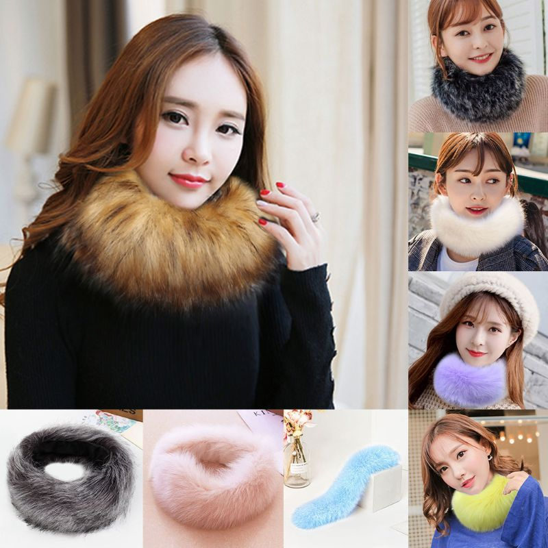 Women Girls Winter Thickened Fluffy Faux Fur Headband Hat Scarf Wrap Solid Color Collar Neck Warmers Circle Loop Shawl Versatile