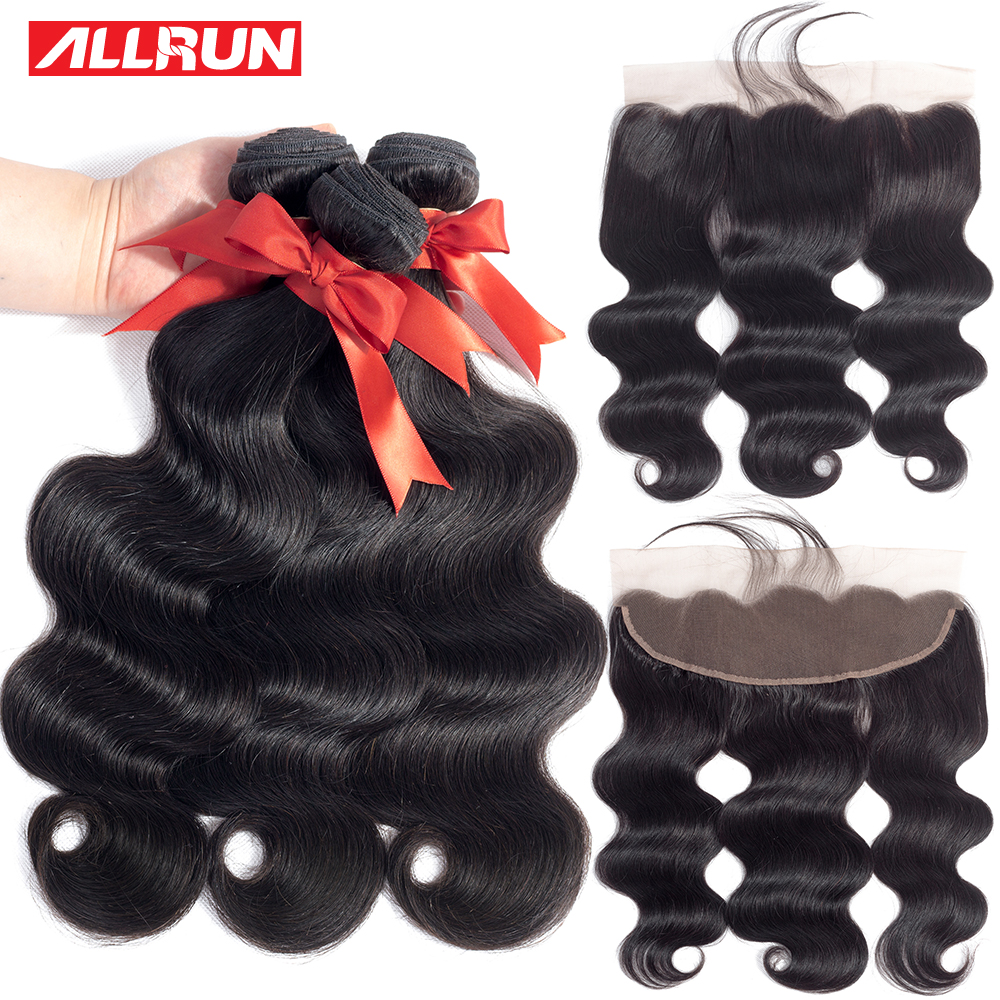 ALLRUN Body Wave Brazilian Hair Weave Bundlar With Closure 2/3 - Mänskligt hår (svart)